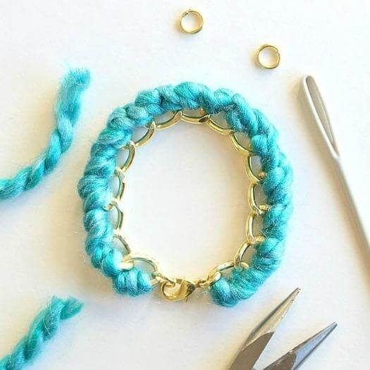 Yarn-Wrapped Bracelet Best Mothers Day DIY Homemade Crafting Gift Ideas Inspiration How To Make Tutorials Recipes Gifts To Make