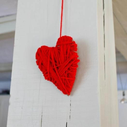 Yarn Wrapped Heart Personalized Mothers Day DIY Homemade Crafting Gift Ideas Inspiration How To Make Tutorials Recipes Gifts To Make