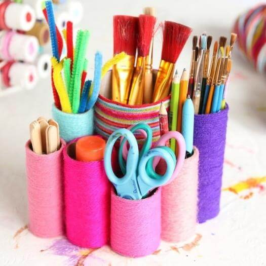 Yarn-Wrapped Holders Best Mothers Day DIY Homemade Crafting Gift Ideas Inspiration How To Make Tutorials Recipes Gifts To Make